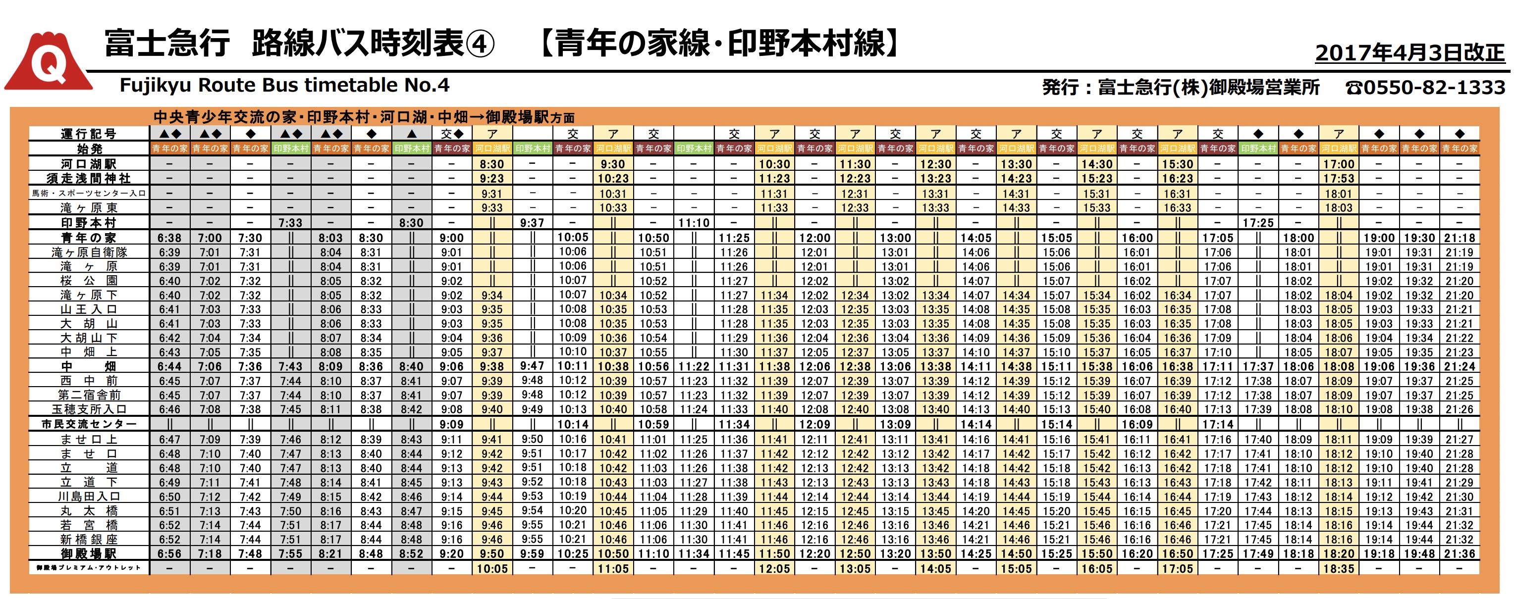 富士急バス時刻表